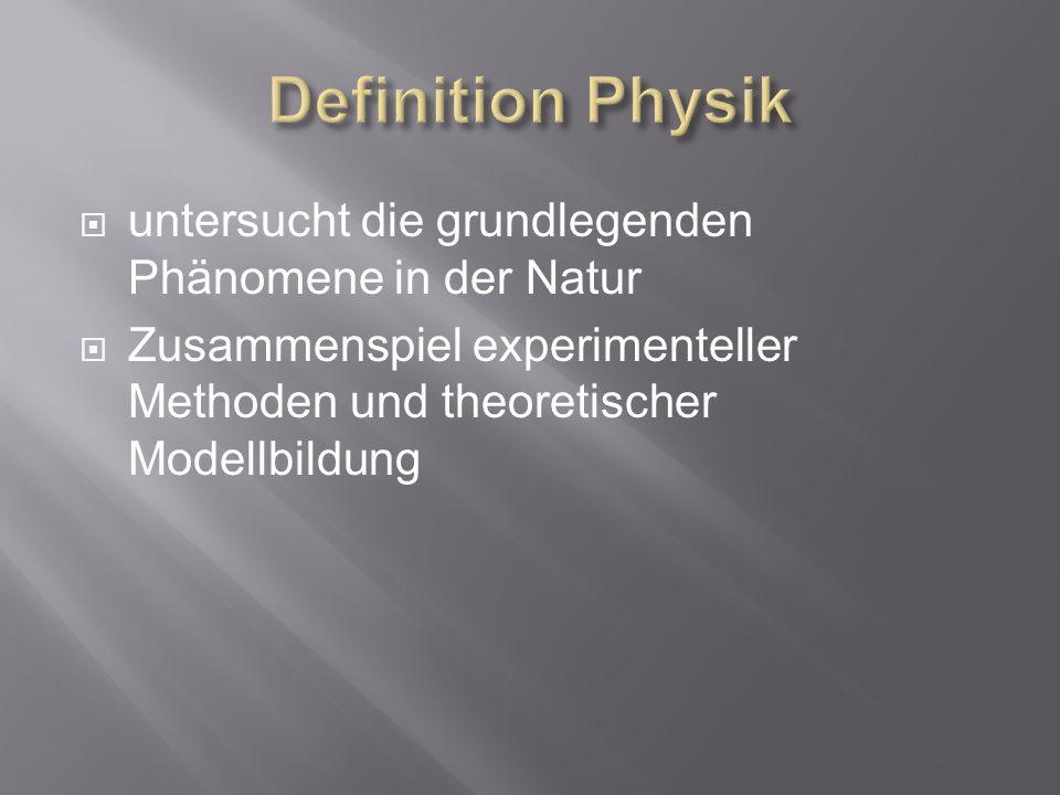 untersucht die grundlegenden Phänomene in der Natur Zusammenspiel experimenteller Methoden und theoretischer Modellbildung