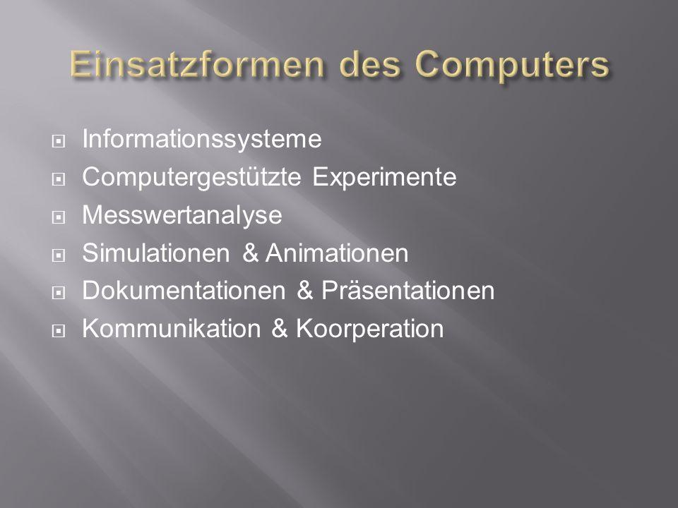 Informationssysteme Computergestützte Experimente Messwertanalyse Simulationen & Animationen Dokumentationen & Präsentationen Kommunikation & Koorperation