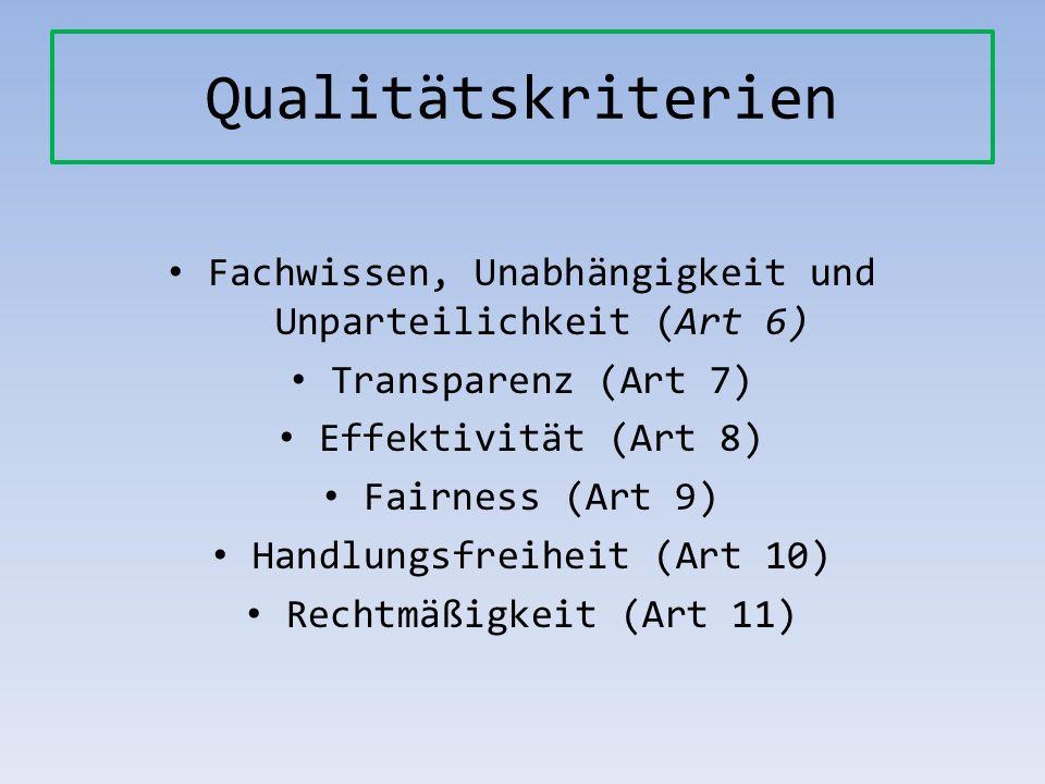 Qualitätskriterien Fachwissen, Unabhängigkeit und Unparteilichkeit (Art 6) Transparenz (Art 7) Effektivität (Art 8) Fairness (Art 9) Handlungsfreiheit