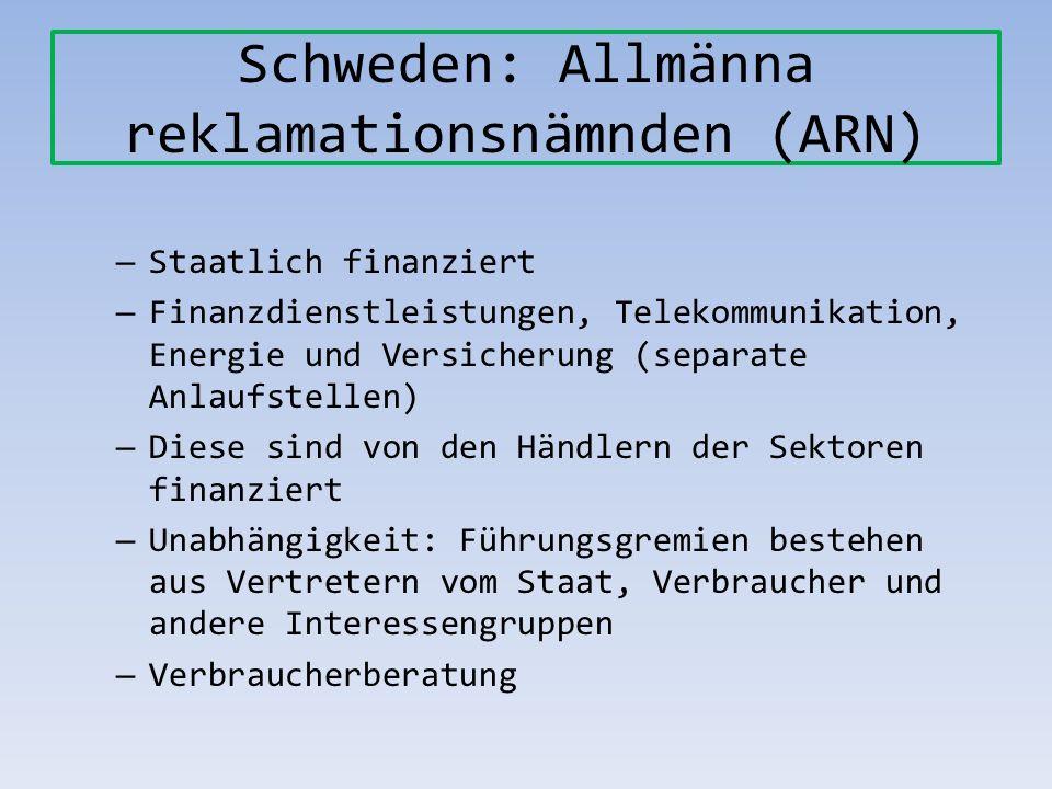 Schweden: Allmänna reklamationsnämnden (ARN) – Staatlich finanziert – Finanzdienstleistungen, Telekommunikation, Energie und Versicherung (separate An