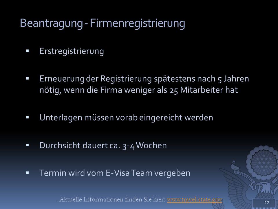 Beantragung - Firmenregistrierung Erstregistrierung Erneuerung der Registrierung spätestens nach 5 Jahren nötig, wenn die Firma weniger als 25 Mitarbe