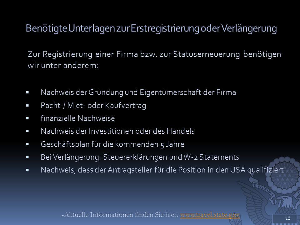 Benötigte Unterlagen zur Erstregistrierung oder Verlängerung Zur Registrierung einer Firma bzw. zur Statuserneuerung benötigen wir unter anderem: Nach