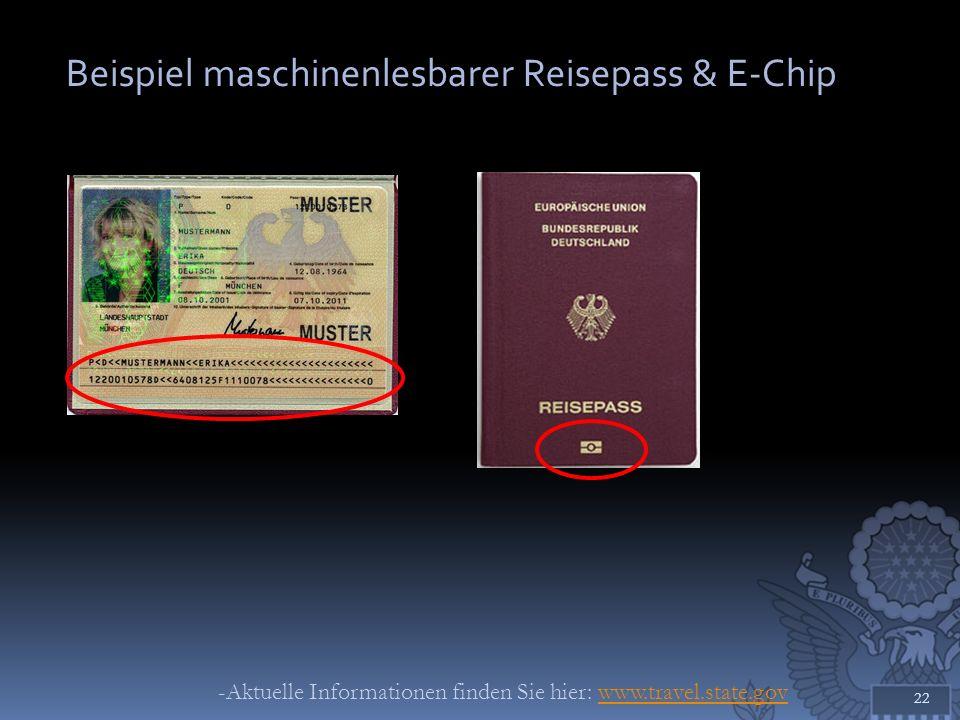 Beispiel maschinenlesbarer Reisepass & E-Chip 22 -Aktuelle Informationen finden Sie hier: www.travel.state.govwww.travel.state.gov