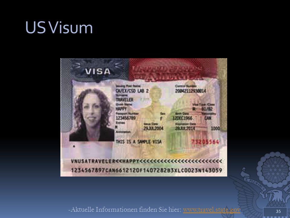 US Visum 35 -Aktuelle Informationen finden Sie hier: www.travel.state.govwww.travel.state.gov