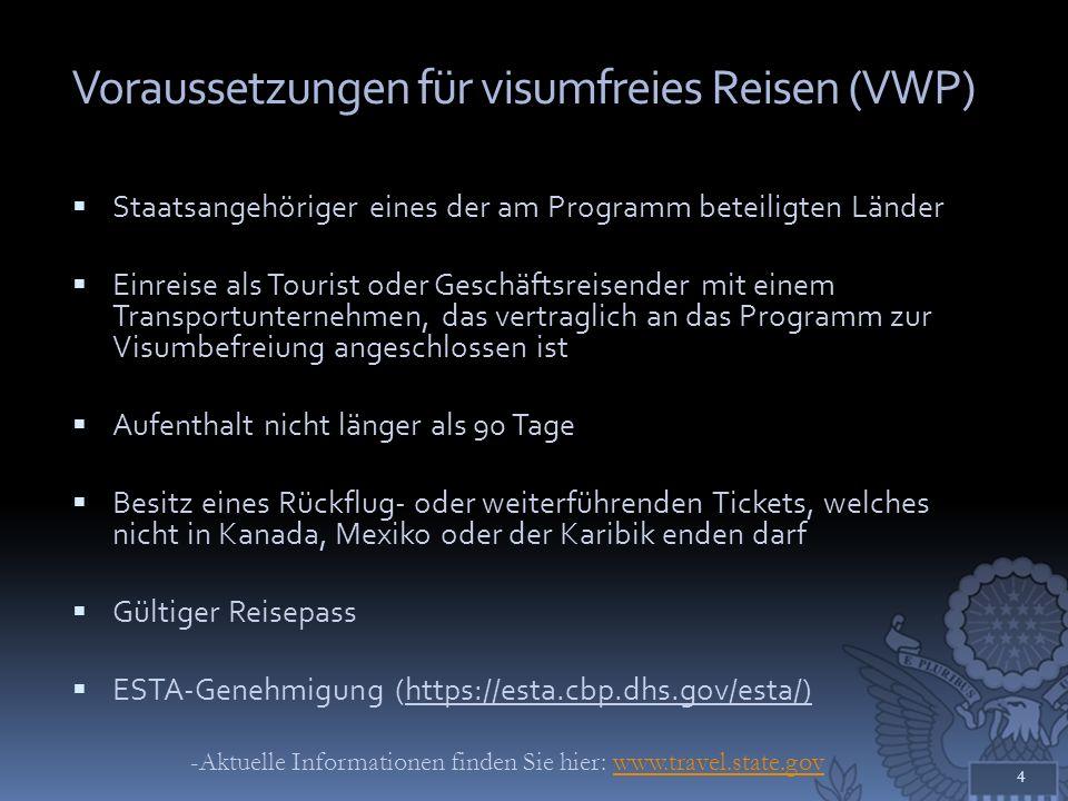 Voraussetzungen für visumfreies Reisen (VWP) Staatsangehöriger eines der am Programm beteiligten Länder Einreise als Tourist oder Geschäftsreisender m