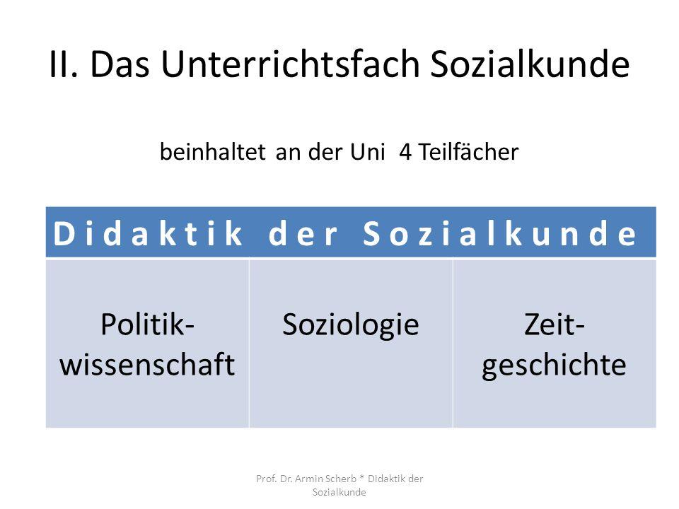 II. Das Unterrichtsfach Sozialkunde D i d a k t i k d e r S o z i a l k u n d e Politik- wissenschaft SoziologieZeit- geschichte beinhaltet an der Uni