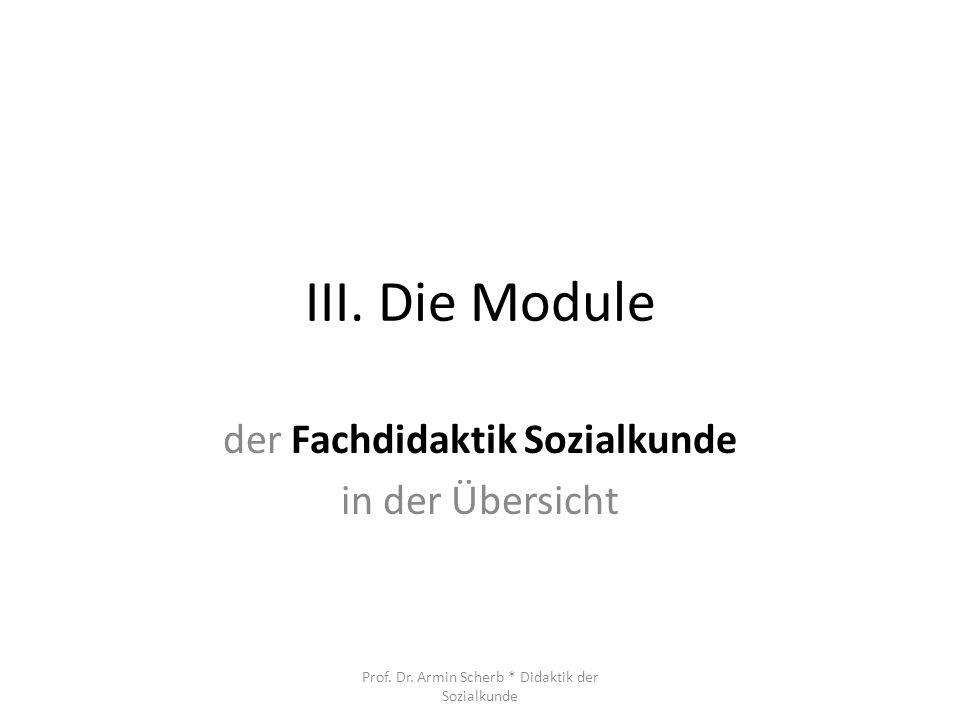 III. Die Module der Fachdidaktik Sozialkunde in der Übersicht Prof. Dr. Armin Scherb * Didaktik der Sozialkunde