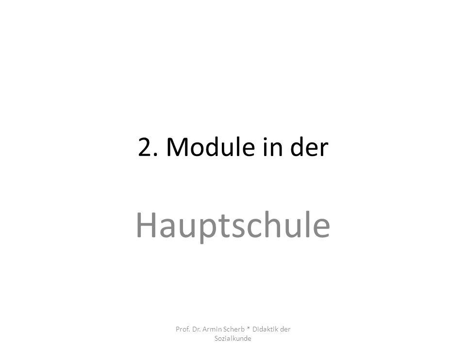 2. Module in der Hauptschule Prof. Dr. Armin Scherb * Didaktik der Sozialkunde