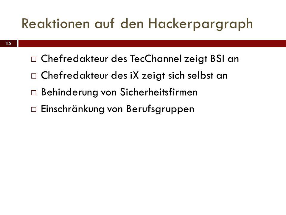 Reaktionen auf den Hackerpargraph 15 Chefredakteur des TecChannel zeigt BSI an Chefredakteur des iX zeigt sich selbst an Behinderung von Sicherheitsfi