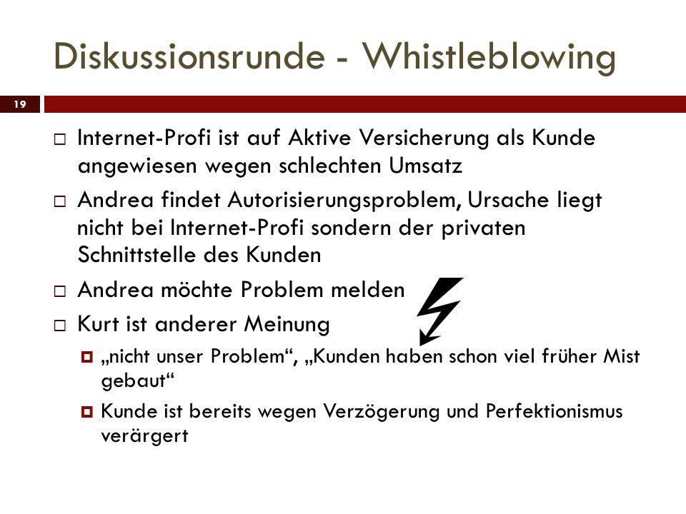 Diskussionsrunde - Whistleblowing 19 Internet-Profi ist auf Aktive Versicherung als Kunde angewiesen wegen schlechten Umsatz Andrea findet Autorisieru