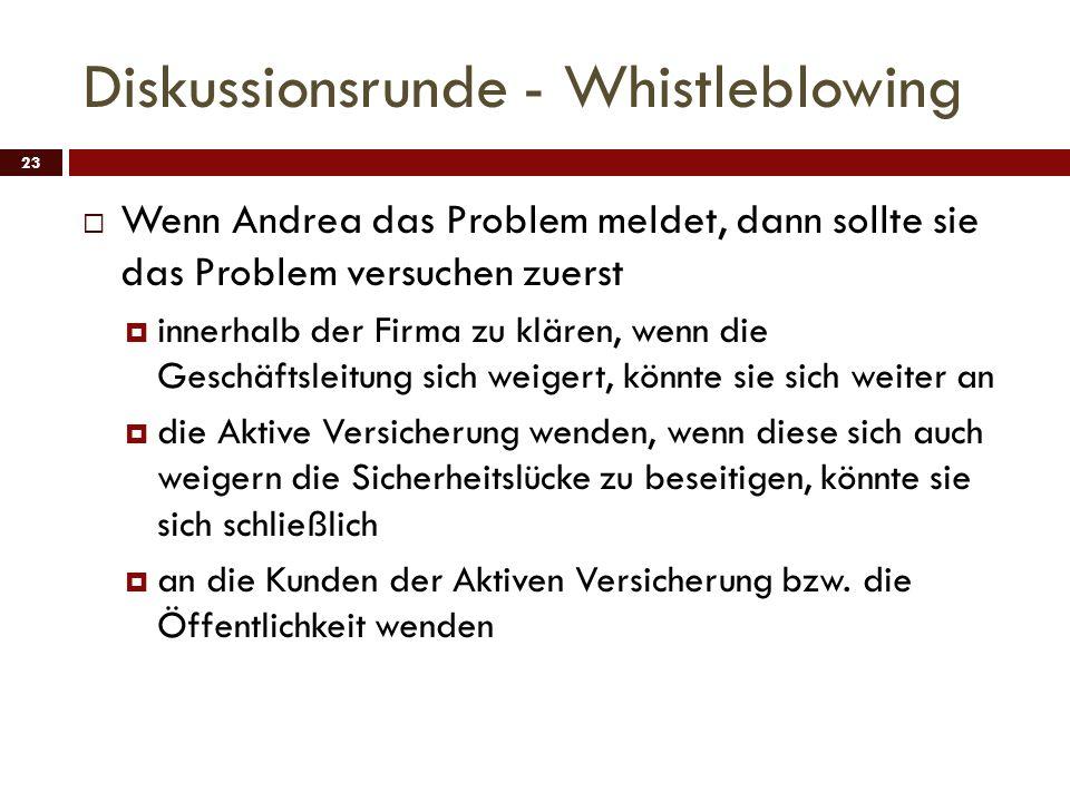 Diskussionsrunde - Whistleblowing 23 Wenn Andrea das Problem meldet, dann sollte sie das Problem versuchen zuerst innerhalb der Firma zu klären, wenn