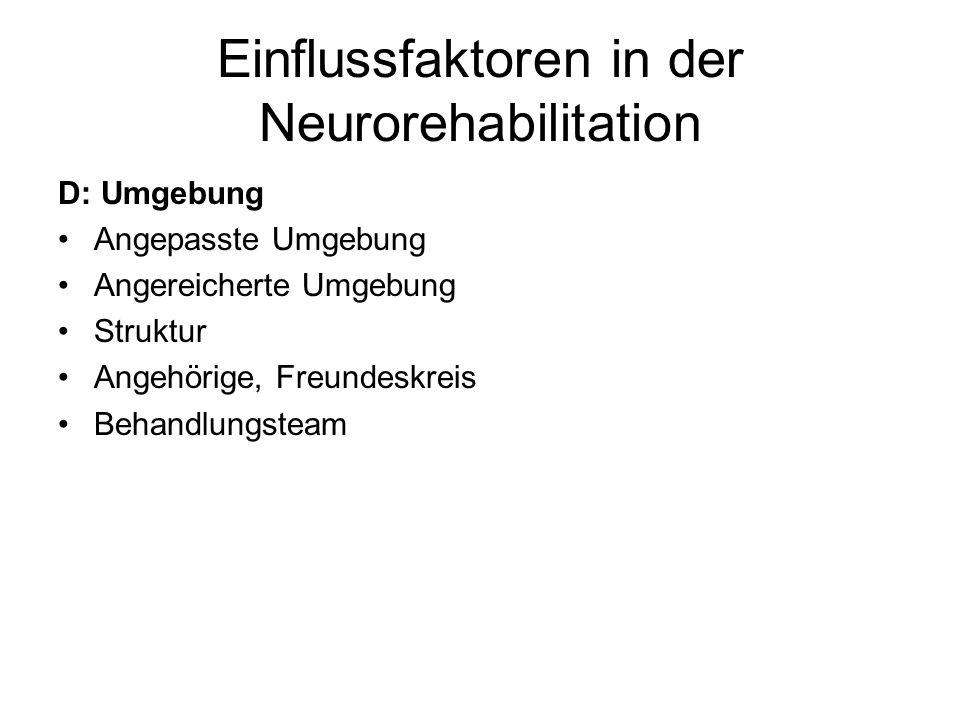 Einflussfaktoren in der Neurorehabilitation D: Umgebung Angepasste Umgebung Angereicherte Umgebung Struktur Angehörige, Freundeskreis Behandlungsteam