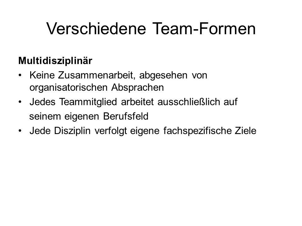 Verschiedene Team-Formen Multidisziplinär Keine Zusammenarbeit, abgesehen von organisatorischen Absprachen Jedes Teammitglied arbeitet ausschließlich