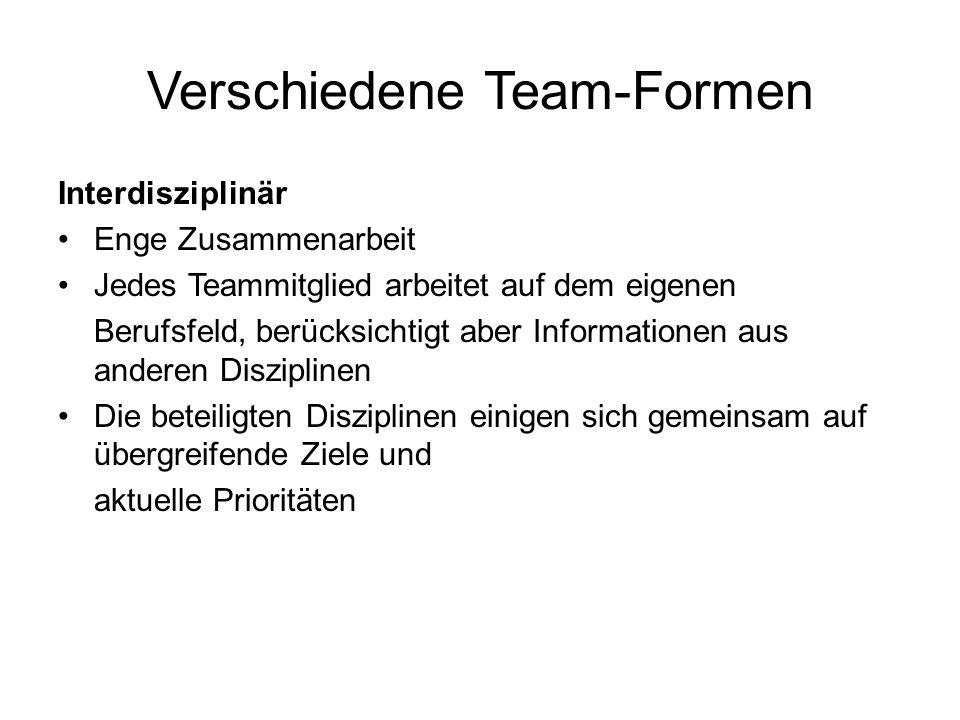 Verschiedene Team-Formen Interdisziplinär Enge Zusammenarbeit Jedes Teammitglied arbeitet auf dem eigenen Berufsfeld, berücksichtigt aber Informatione