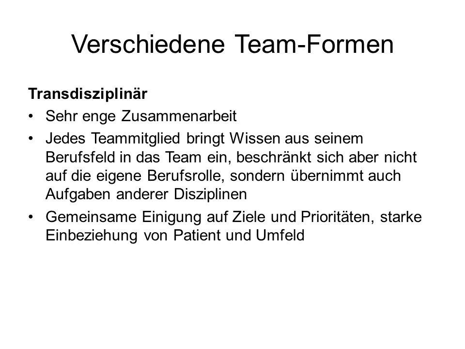 Verschiedene Team-Formen Transdisziplinär Sehr enge Zusammenarbeit Jedes Teammitglied bringt Wissen aus seinem Berufsfeld in das Team ein, beschränkt