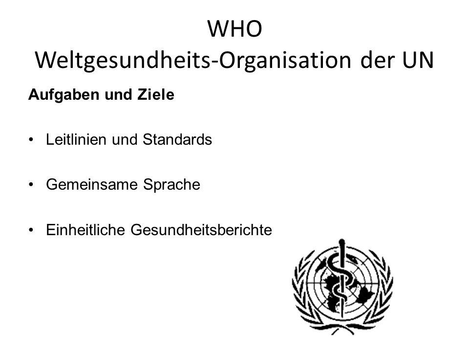 WHO Weltgesundheits-Organisation der UN Aufgaben und Ziele Leitlinien und Standards Gemeinsame Sprache Einheitliche Gesundheitsberichte