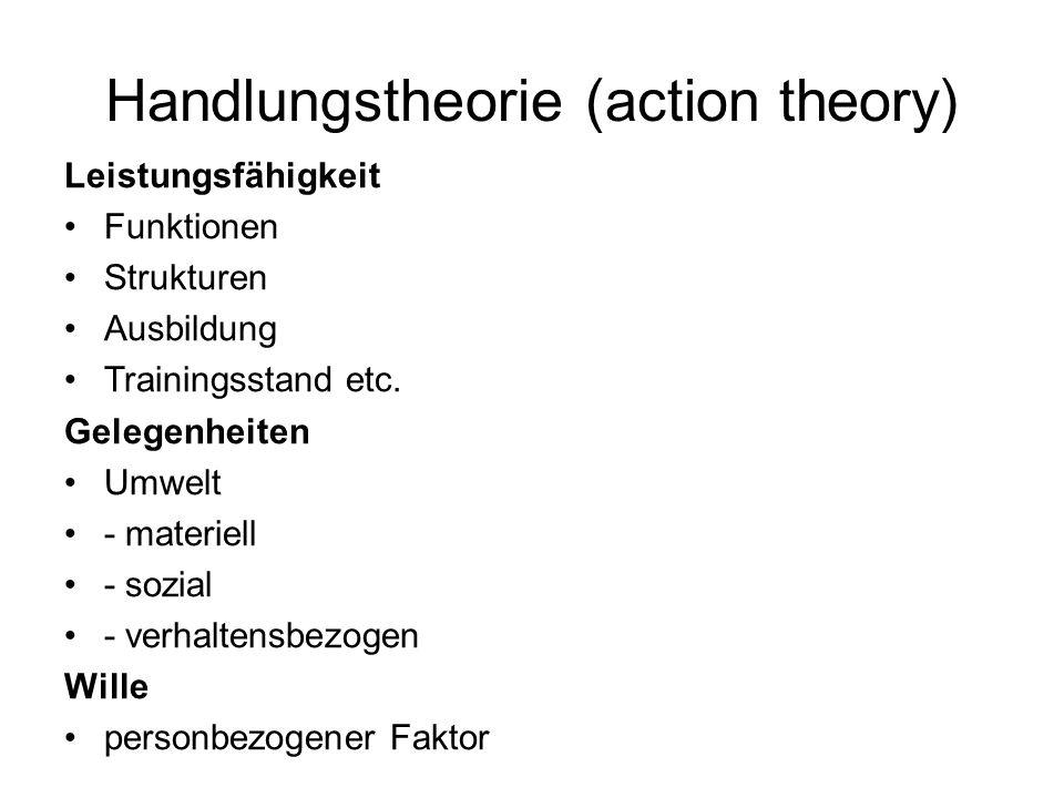 Handlungstheorie (action theory) Leistungsfähigkeit Funktionen Strukturen Ausbildung Trainingsstand etc. Gelegenheiten Umwelt - materiell - sozial - v