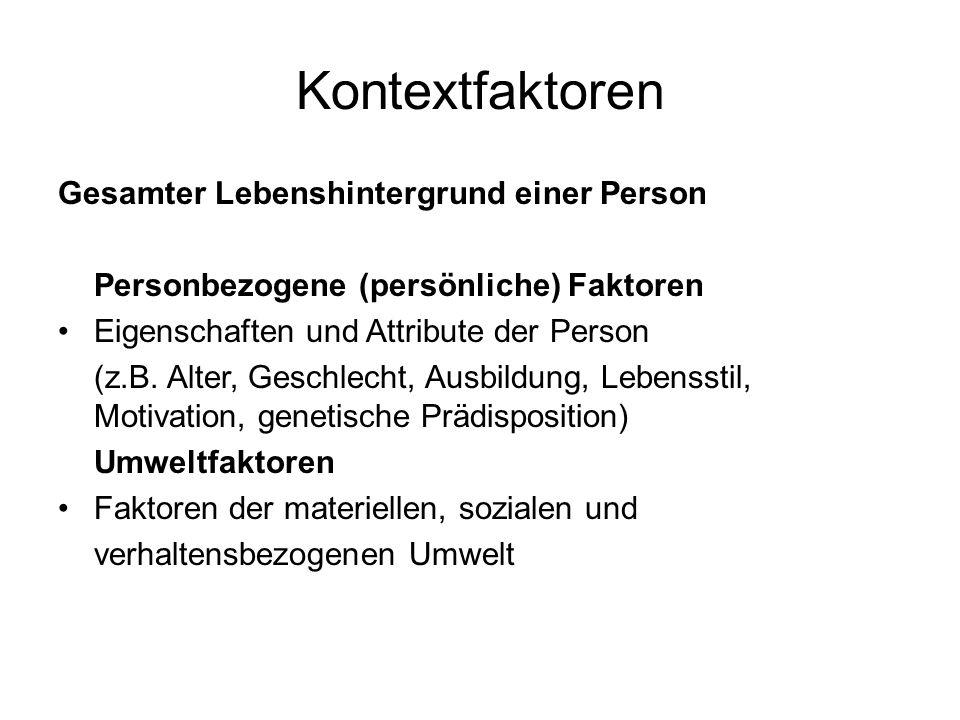 Kontextfaktoren Gesamter Lebenshintergrund einer Person Personbezogene (persönliche) Faktoren Eigenschaften und Attribute der Person (z.B. Alter, Gesc