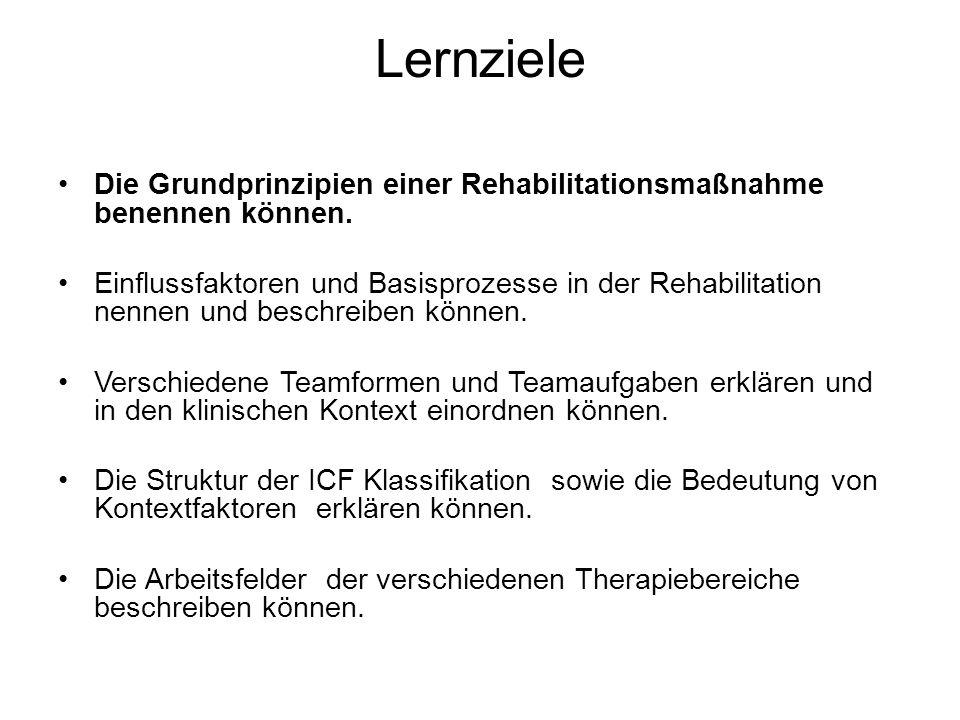 Lernziele Die Grundprinzipien einer Rehabilitationsmaßnahme benennen können. Einflussfaktoren und Basisprozesse in der Rehabilitation nennen und besch