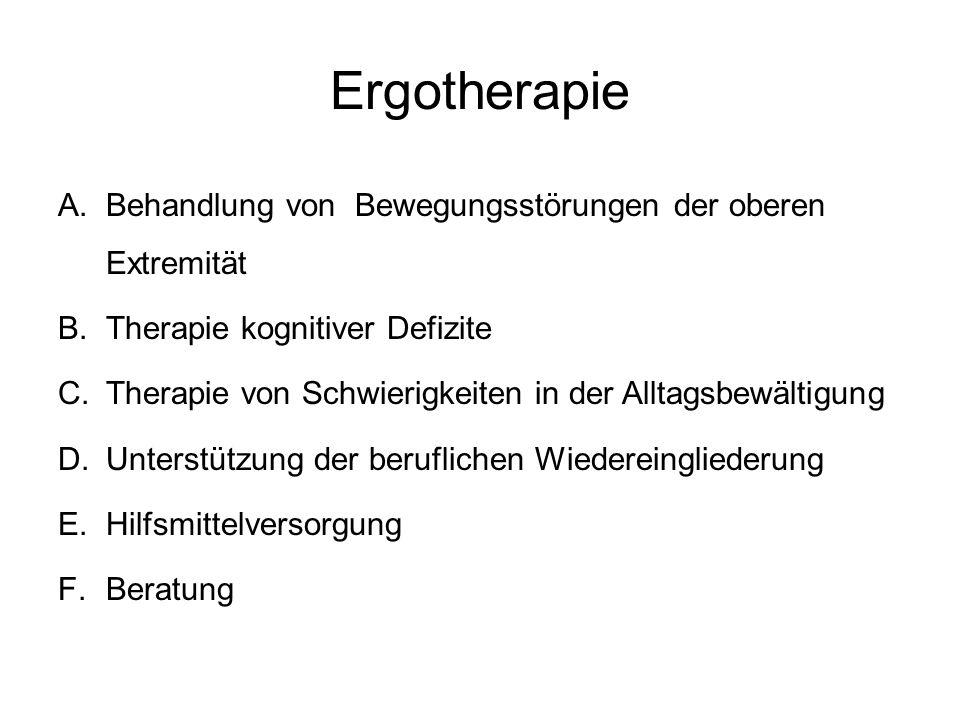 Ergotherapie A.Behandlung von Bewegungsstörungen der oberen Extremität B.Therapie kognitiver Defizite C.Therapie von Schwierigkeiten in der Alltagsbew