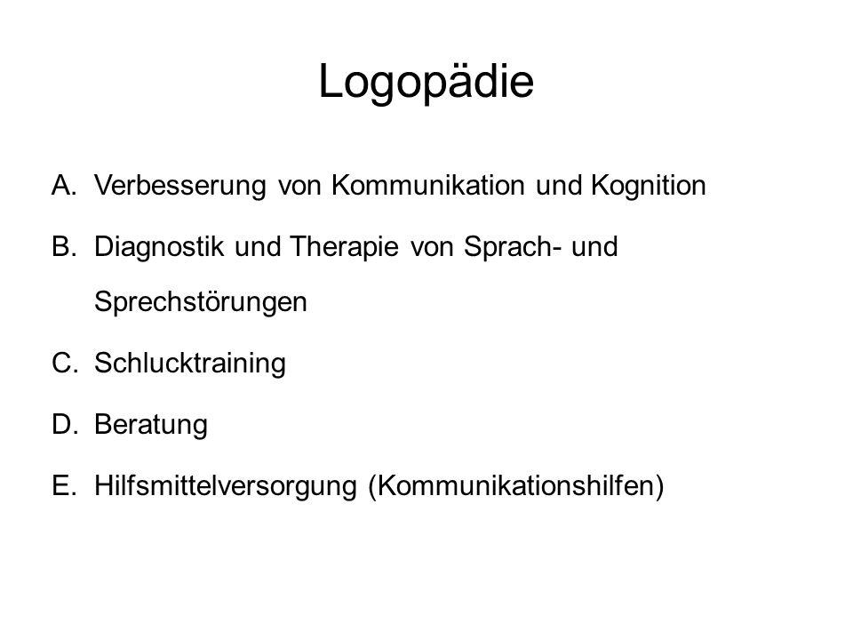 Logopädie A.Verbesserung von Kommunikation und Kognition B.Diagnostik und Therapie von Sprach- und Sprechstörungen C.Schlucktraining D.Beratung E.Hilf