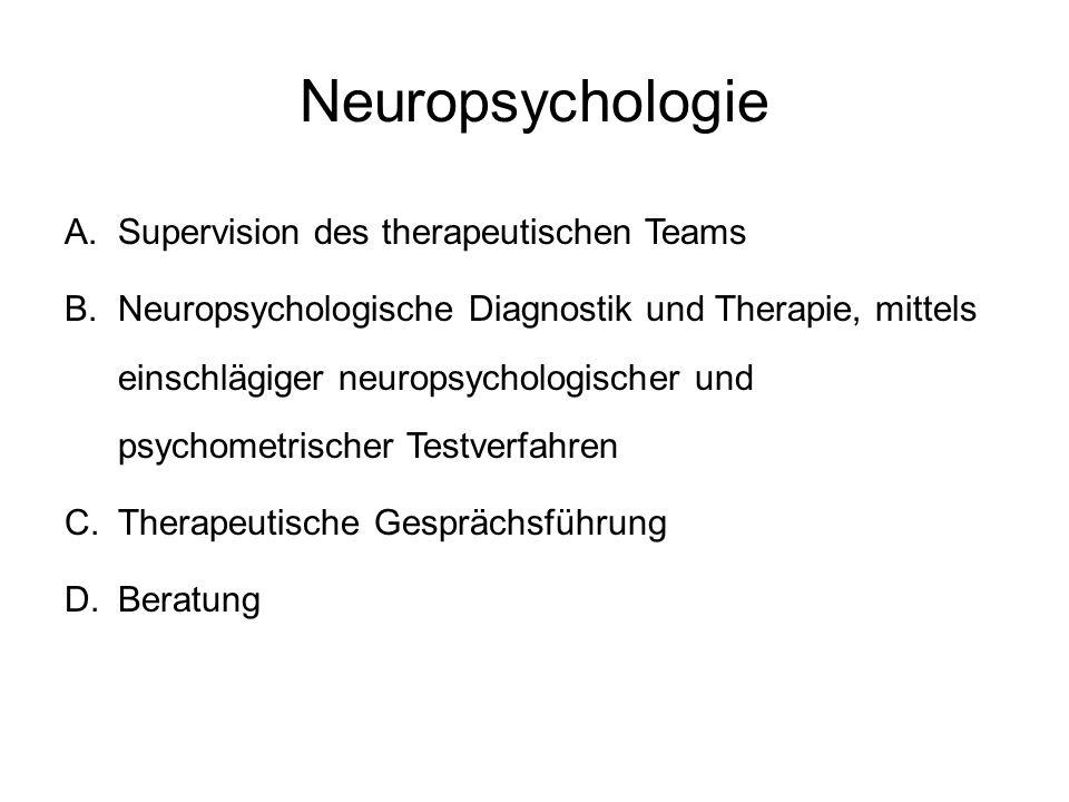 Neuropsychologie A.Supervision des therapeutischen Teams B.Neuropsychologische Diagnostik und Therapie, mittels einschlägiger neuropsychologischer und