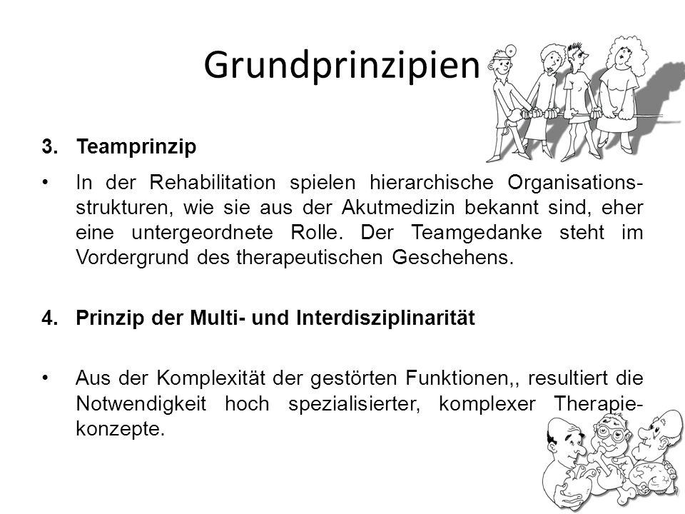 Grundprinzipien 3.Teamprinzip In der Rehabilitation spielen hierarchische Organisations- strukturen, wie sie aus der Akutmedizin bekannt sind, eher ei