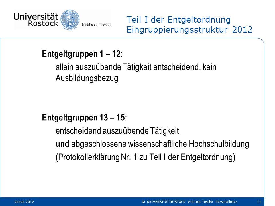Teil I der Entgeltordnung Eingruppierungsstruktur 2012 Entgeltgruppen 1 – 12 : allein auszuübende Tätigkeit entscheidend, kein Ausbildungsbezug Entgel