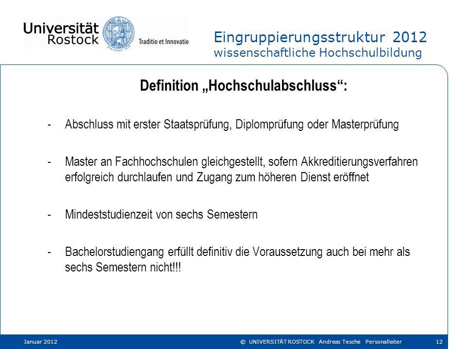 Eingruppierungsstruktur 2012 wissenschaftliche Hochschulbildung Definition Hochschulabschluss: -Abschluss mit erster Staatsprüfung, Diplomprüfung oder
