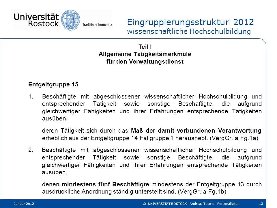Eingruppierungsstruktur 2012 wissenschaftliche Hochschulbildung Teil I Allgemeine Tätigkeitsmerkmale für den Verwaltungsdienst Entgeltgruppe 15 1.Besc