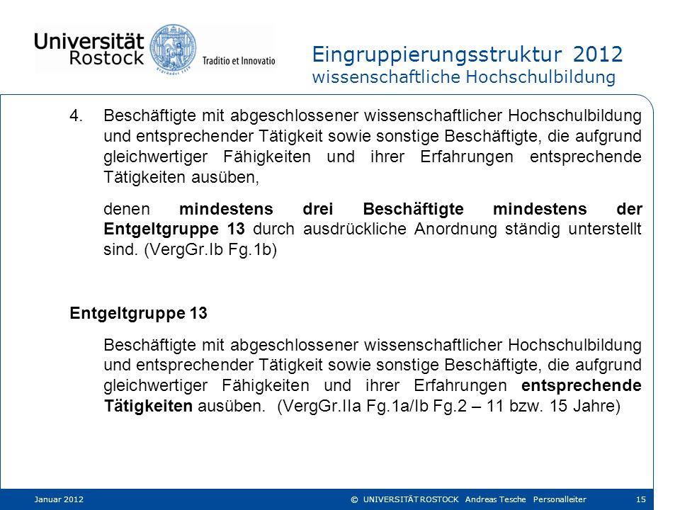 Eingruppierungsstruktur 2012 wissenschaftliche Hochschulbildung 4.Beschäftigte mit abgeschlossener wissenschaftlicher Hochschulbildung und entsprechen