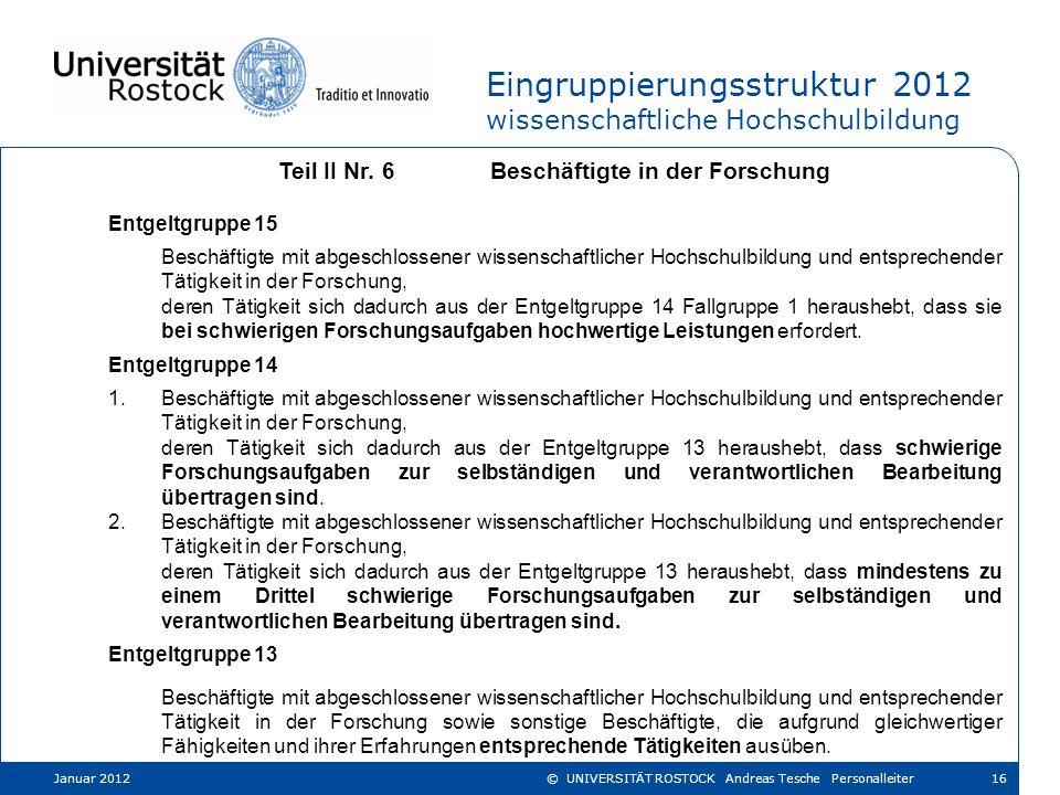 Eingruppierungsstruktur 2012 wissenschaftliche Hochschulbildung Teil II Nr. 6Beschäftigte in der Forschung Entgeltgruppe 15 Beschäftigte mit abgeschlo