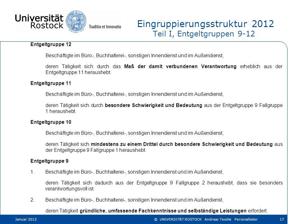 Eingruppierungsstruktur 2012 Teil I, Entgeltgruppen 9-12 Entgeltgruppe 12 Beschäftigte im Büro-, Buchhalterei-, sonstigen Innendienst und im Außendien