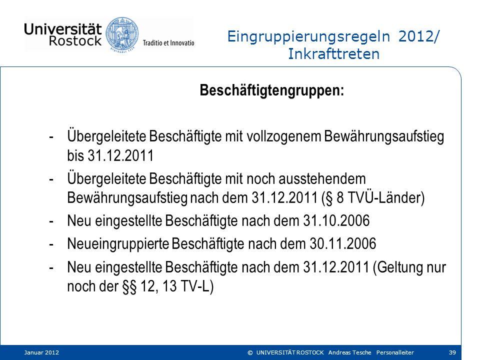 Eingruppierungsregeln 2012/ Inkrafttreten Beschäftigtengruppen: -Übergeleitete Beschäftigte mit vollzogenem Bewährungsaufstieg bis 31.12.2011 -Übergel