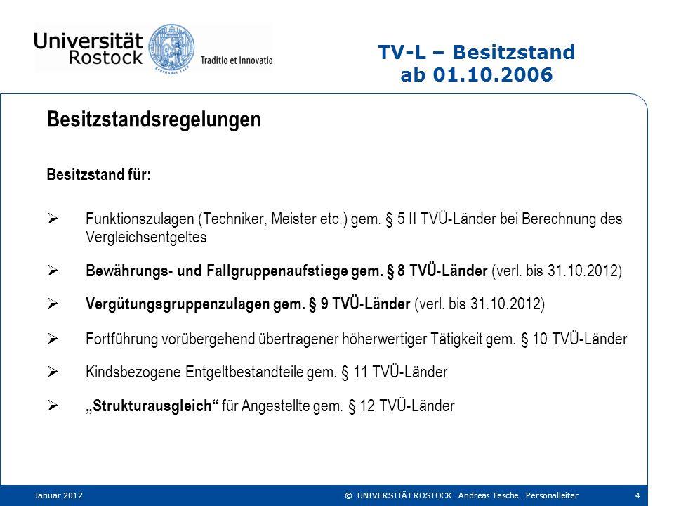 Januar 2012 © UNIVERSITÄT ROSTOCK Andreas Tesche Personalleiter TV-L – Besitzstand ab 01.10.2006 Besitzstandsregelungen Besitzstand für: Funktionszula
