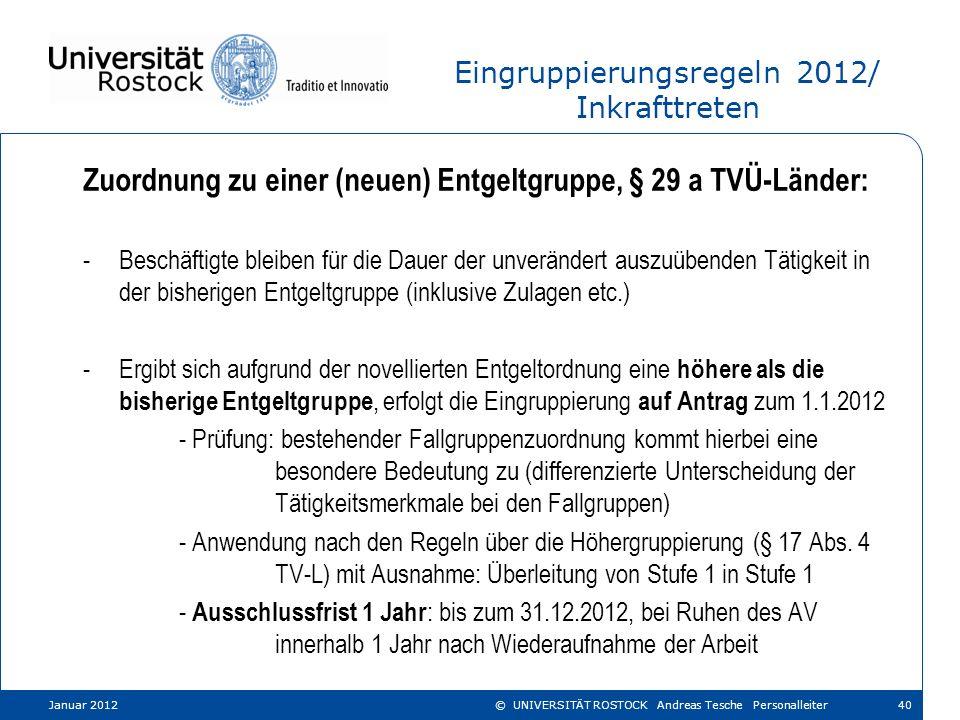 Eingruppierungsregeln 2012/ Inkrafttreten Zuordnung zu einer (neuen) Entgeltgruppe, § 29 a TVÜ-Länder: -Beschäftigte bleiben für die Dauer der unverän