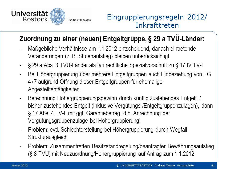 Eingruppierungsregeln 2012/ Inkrafttreten Zuordnung zu einer (neuen) Entgeltgruppe, § 29 a TVÜ-Länder: -Maßgebliche Verhältnisse am 1.1.2012 entscheid