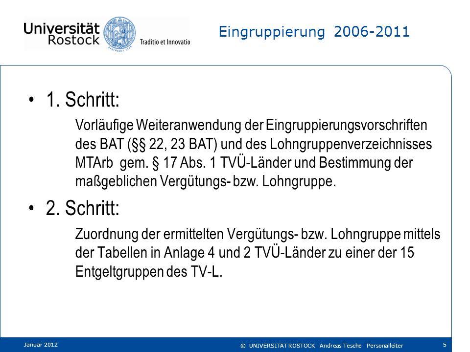 Eingruppierung 2006-2011 1. Schritt: Vorläufige Weiteranwendung der Eingruppierungsvorschriften des BAT (§§ 22, 23 BAT) und des Lohngruppenverzeichnis