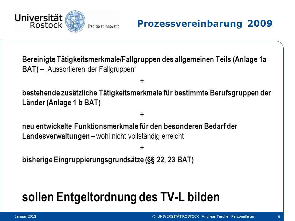 Neue Entgeltordnung 2012 Januar 201227© UNIVERSITÄT ROSTOCK Andreas Tesche Personalleiter