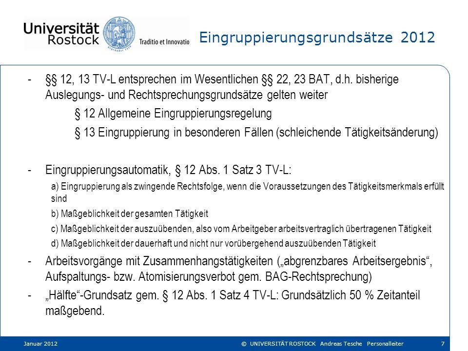 Eingruppierungsstruktur 2012 (Technische Beschäftigte, Teil II Abschnitt 22) Januar 201218© UNIVERSITÄT ROSTOCK Andreas Tesche Personalleiter