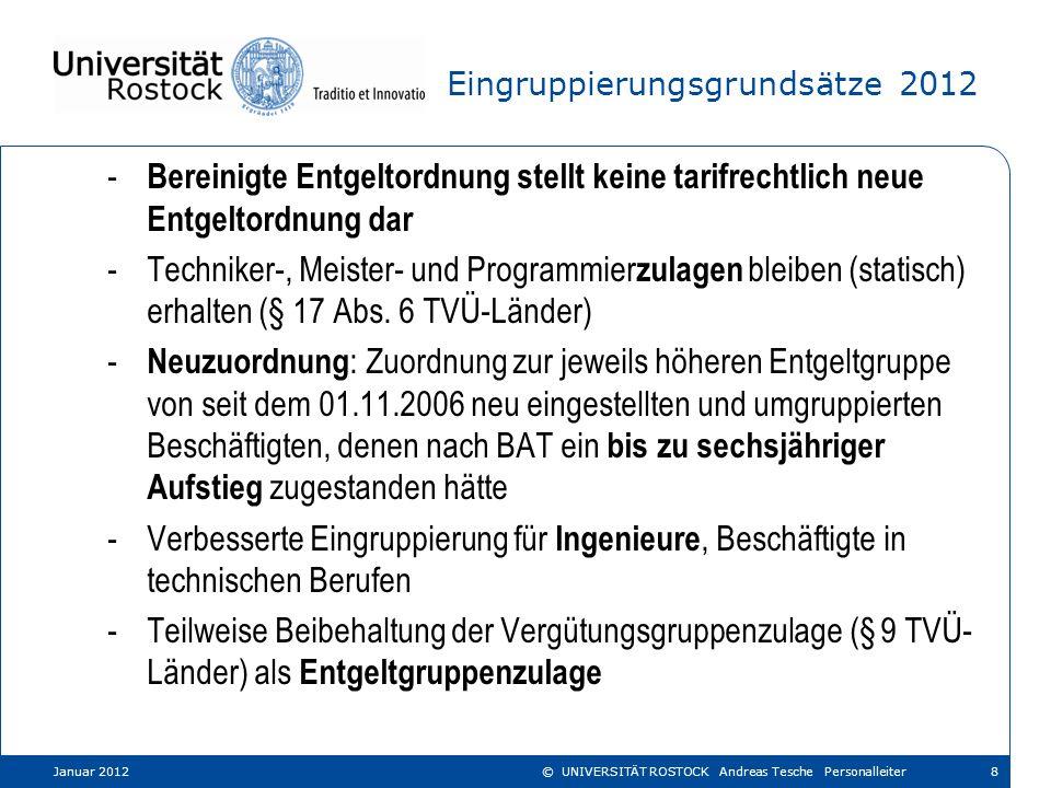 Entgeltgruppen 2-8 im Angestelltenbereich 2006-2011 Januar 201229© UNIVERSITÄT ROSTOCK Andreas Tesche Personalleiter