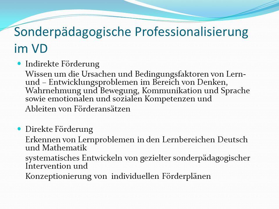 Sonderpädagogische Professionalisierung im VD Indirekte Förderung Wissen um die Ursachen und Bedingungsfaktoren von Lern- und – Entwicklungsproblemen