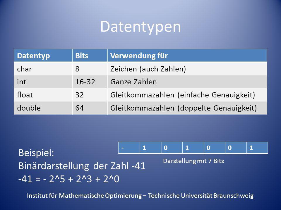 Datentypen DatentypBitsVerwendung für char8Zeichen (auch Zahlen) int16-32Ganze Zahlen float32Gleitkommazahlen (einfache Genauigkeit) double64Gleitkomm