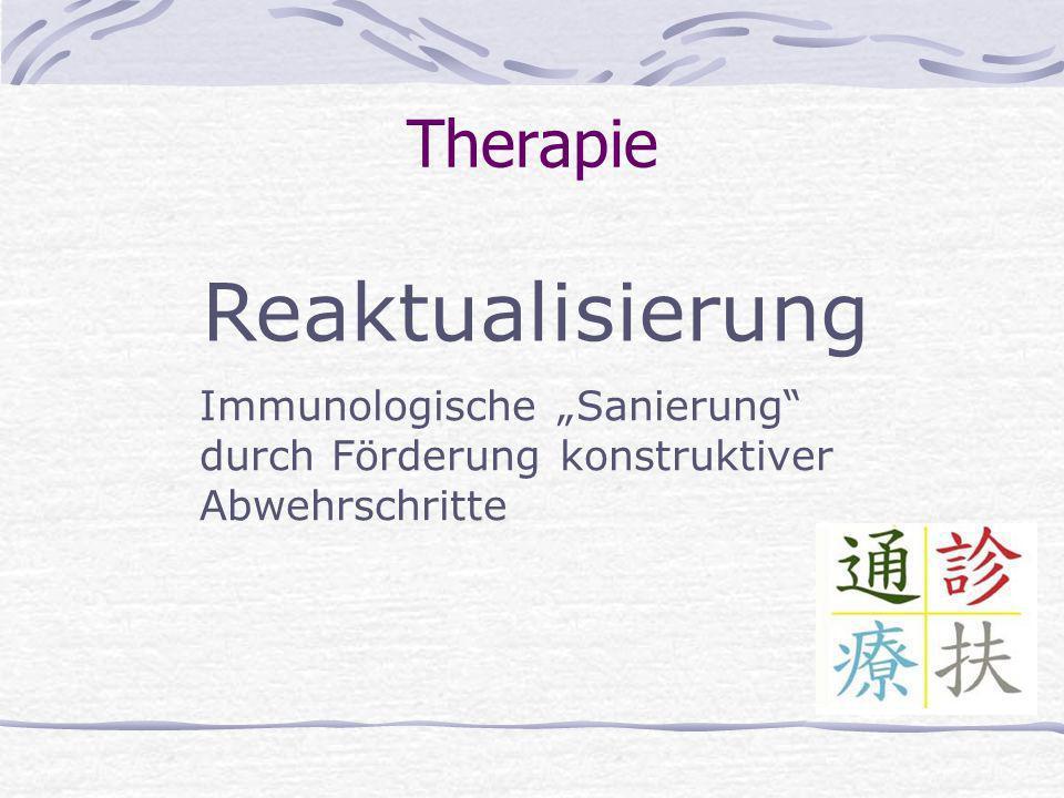 Therapie Reaktualisierung Immunologische Sanierung durch Förderung konstruktiver Abwehrschritte