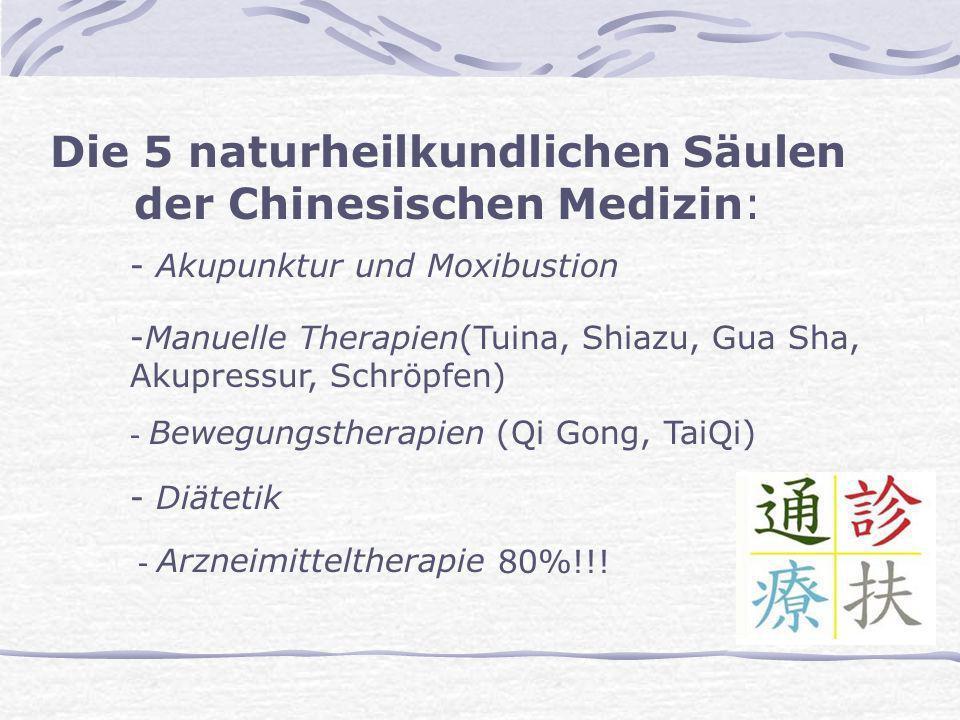 - Akupunktur und Moxibustion Die 5 naturheilkundlichen Säulen der Chinesischen Medizin: -Manuelle Therapien(Tuina, Shiazu, Gua Sha, Akupressur, Schröp