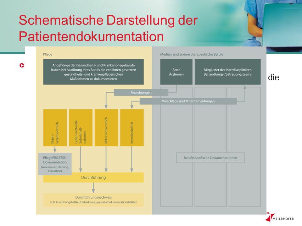 Inhalte der Pflegedokumentation … umfasst die Pflegeprozessdokumentation eigenverantwortlicher Tätigkeitsbereich der diplomierten Gesundheits- und Krankenpflege & die Dokumentation der anderen Tätigkeitsbereiche mitverantwortlich, lebensrettende Sofortmaßnahmen, Interdisziplinär, Spezialaufgaben.