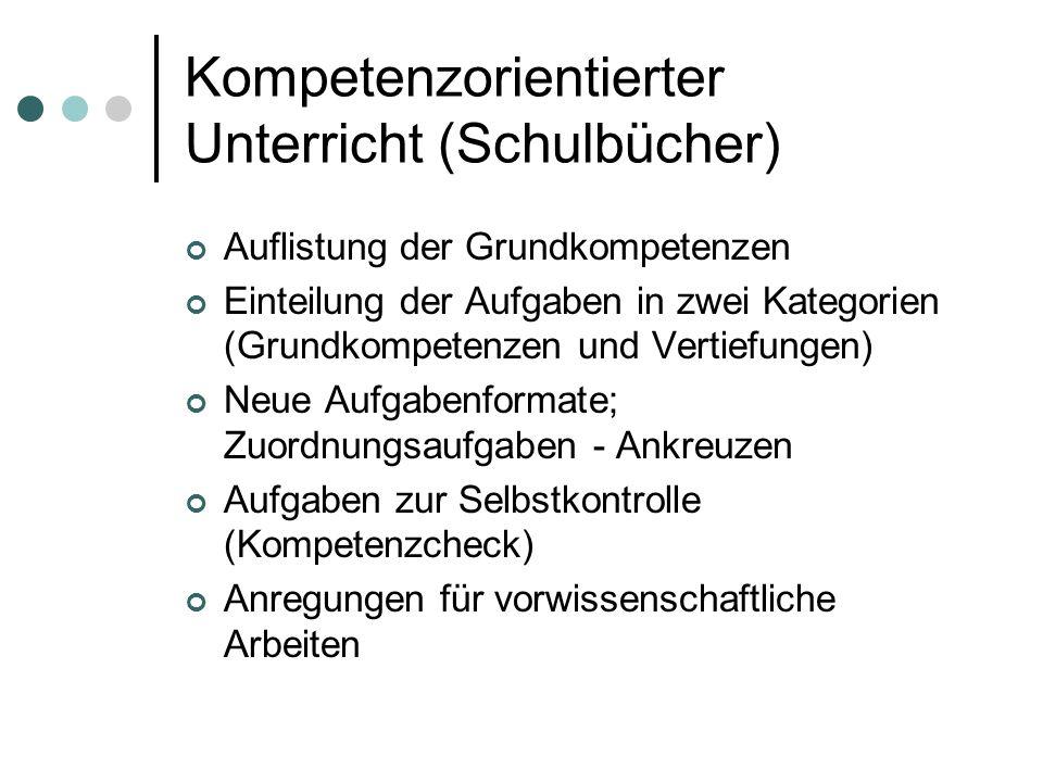 Kompetenzorientierter Unterricht (Schulbücher) Auflistung der Grundkompetenzen Einteilung der Aufgaben in zwei Kategorien (Grundkompetenzen und Vertie