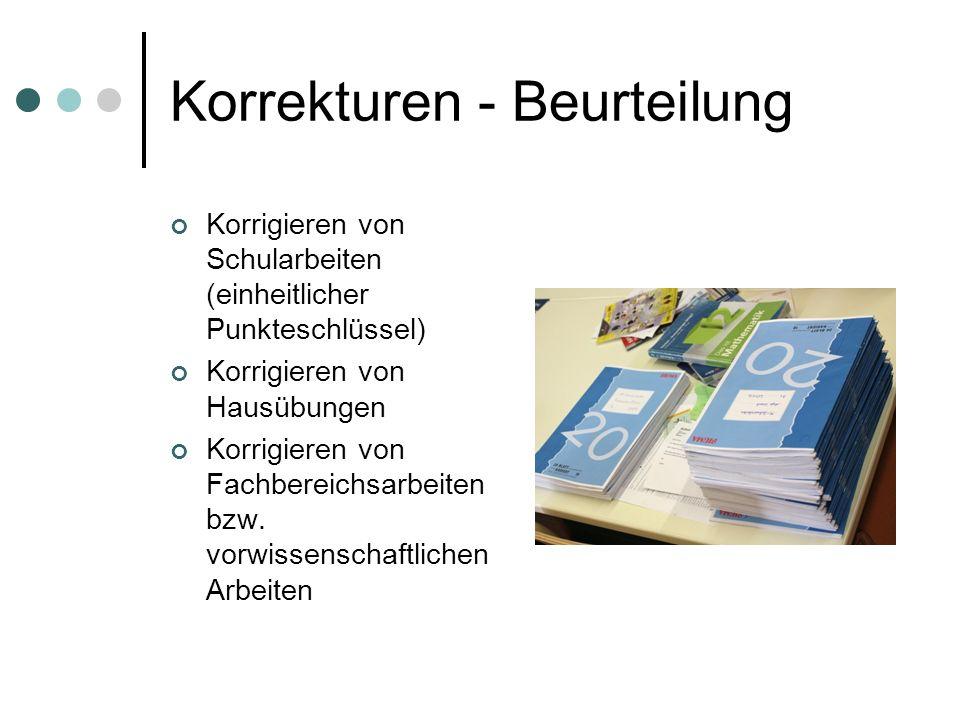 Korrekturen - Beurteilung Korrigieren von Schularbeiten (einheitlicher Punkteschlüssel) Korrigieren von Hausübungen Korrigieren von Fachbereichsarbeit