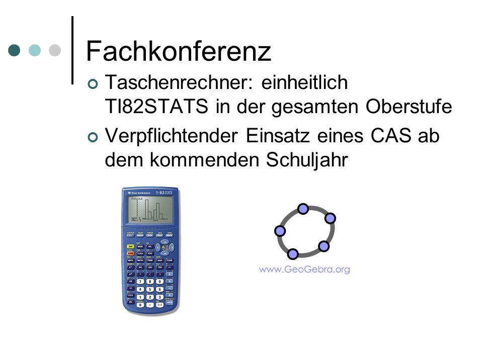 Fachkonferenz Taschenrechner: einheitlich TI82STATS in der gesamten Oberstufe Verpflichtender Einsatz eines CAS ab dem kommenden Schuljahr