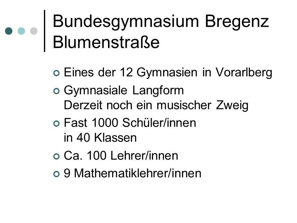 Bundesgymnasium Bregenz Blumenstraße Eines der 12 Gymnasien in Vorarlberg Gymnasiale Langform Derzeit noch ein musischer Zweig Fast 1000 Schüler/innen